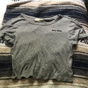 Grey boy bye crop top